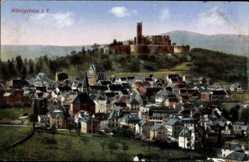 Postcard Königstein im Taunus Hessen, Totalansicht der Ortschaft mit Burg