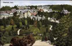 Postcard Oberhof im Thüringer Wald, Blick auf den Ort, Parkanlage, Häuser
