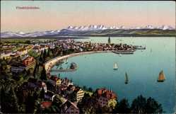 Postcard Friedrichshafen am Bodensee, Blick auf den Ort, Gebirge, Segelboote