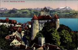 Postcard Meersburg im Bodenseekreis Baden Württemberg, Blick auf Ort und Burg, Säntis
