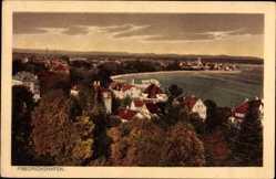 Postcard Friedrichshafen am Bodensee, Blick auf den Ort, Seepartie, Häuser