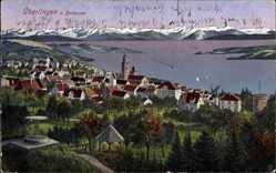 Postcard Überlingen im Bodenseekreis Baden Württemberg, Totalansicht der Ortschaft