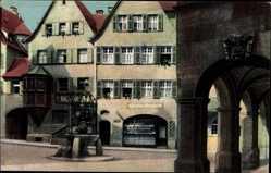 Postcard Stuttgart in Baden Württemberg, Partie in der Altstadt, Hans im Glück Brunnen