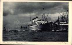 Postcard Dampfschiff Cap Polonio, HSDG, Hamburger Hafen