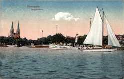 Postcard Neuruppin, Blick auf Dampfer und Segelyacht auf See m. Kirche im Hintergrund