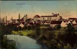 Postcard Günzburg in Schwaben, Totalansicht vom Ort, Fluss, Schloss
