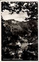 Postcard Frankenstein in der Pfalz, Blick auf den Ort, Bäume