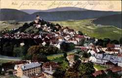 Postcard Pappenheim in Mittelfranken, Gesamtansicht der Ortschaft mit Burg