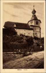 Postcard Möhra Moorgrund im Wartburgkreis, Kinder vor der Kirche