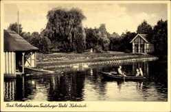 Postcard Bad Rothenfelde am Teutoburger Wald, Mann mit Kinder auf dem Kahnteich
