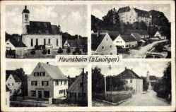 Postcard Haunsheim bei Lauingen, Schloss, Kirche, Schule, Handlung Kurz