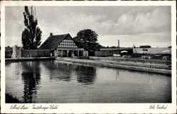 Postcard Bad Laer in Niedersachsen, Blick in das Sole Freibad