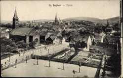 Postcard St. Ingbert im Saarpfalz Kreis, Totalansicht der Stadt, Straßenpartie