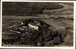 Postcard Bad Brückenau im Sinntal Unterfranken, Kloster Volkersberg, Fliegeraufnahme