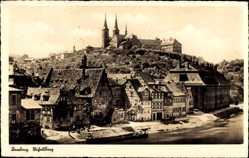 Postcard Bamberg an der Regnitz Oberfranken, Regnitzufer mit Blick auf Dom