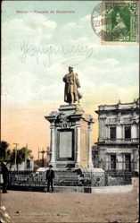Postcard Mexiko, Plazuela de Buenavista, Blick auf ein Denkmal, Platz