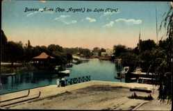 Postcard Buenos Aires Argentinien, Rio Lujan, Tigre, Flusspartie, Gebäude