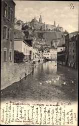 Postcard Grund Luxemburg, L'Alzette, Flusspartie, Teilansicht der Ortschaft
