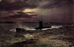 Postcard Wohlfahrtskarte, Unterstützung der Kriegsinvaliden der Ksr. Marine, U Boot