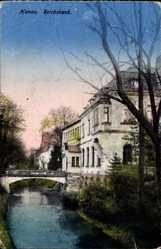 Postcard Hanau im Main Kinzig Kreis Hessen, Flusspartie, Brücke, Reichsbank