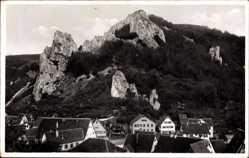 Postcard Blaubeuren Baden Württemberg, Blick auf den Ort mit Blauberg