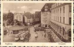 Postcard Augsburg in Schwaben, Straßenbahnen am Königsplatz
