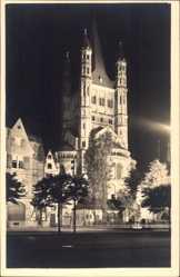 Postcard Köln am Rhein, St. Martinskirche bei Festbeleuchtung