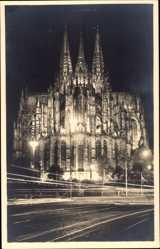 Postcard Köln am Rhein, Der Dom bei Festbeleuchtung