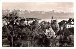 Postcard Starnberg in Oberbayern, Hausansichten, Kirche, Alpenpanorama