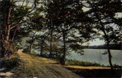 Postcard Varel am Jadebusen, Straßenpartie am Mühlenteich