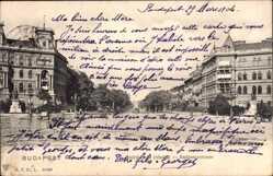 Postcard Budapest Ungarn, Andrassystraße, Adrassy ut, Straßenpartie