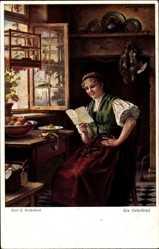 Künstler Ak Kricheldorf, Carl, E., Frau liest einen Liebesbrief