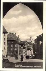 Postcard Ravensburg, Blick in die Marktstraße durchs Obertor