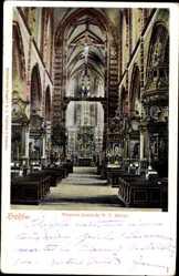Postcard Kraków Krakau Polen, Wnetrze kosciola N.P. Maryi, Marienkirche