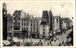 Ak Toruń Thorn Westpreußen, Marktplatz, Gebäude, Geschäfte, Passanten