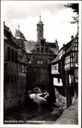 Postcard Marktbreit am Main, Flusspartie am Maintor, Fachwerkhaus
