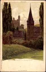 Künstler Litho Biese, Trechtingshausen, Clemenskapelle und Falkenburg