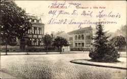 Postcard Saarlouis im Saarland, Blick auf Gymnasium und Villa Poller