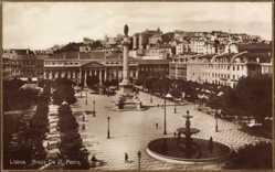 Postcard Lisboa Lissabon Portugal, Praca de D. Pedro, Platz, Denkmal, Fontäne