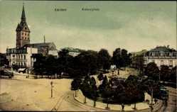 Postcard Aachen in Nordrhein Westfalen, Straßenbahn passiert den Kaiserplatz