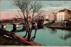 Postcard Düren in Nordrhein Westfalen, Ruhr Brücke, Flusspartie, Häuser
