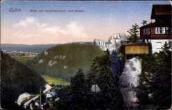 Postcard Oybin in Sachsen, Blick auf Bergrestaurant und Ortschaft