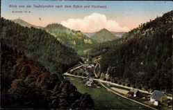 Postcard Oybin in Sachsen, Blick von der Teufelsmühle auf Ort und Hochwald
