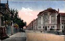 Postcard Landau in der Pfalz, Blick auf die Infanteriekaserne, Straßenpartie