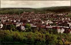 Postcard Pforzheim, Stadtpanorama vom Hachel, Glockenturm, Wald