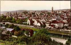 Postcard Pforzheim, Blick auf den östlichen Stadtteil, Glockenturm, Flusspartie
