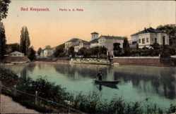 Postcard Bad Kreuznach Nahe, Flusspartie, Ruderer, Gondel, Häuser, Weg