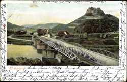 Postcard Bad Münster Ebernburg Bad Kreuznach, Flusspartie, Brücke, Stadtansicht