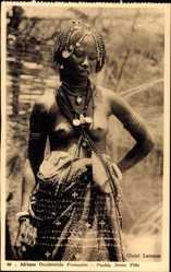 Ansichtskarte / Postkarte Afrique Occidentale Francaise, Peuhle Jeune Fille, Nackte Brust