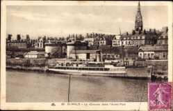 Postcard Saint Malo Ille de Vilaine Bretagne, Le Dinard dans l'Avant Port, Kirchturm
